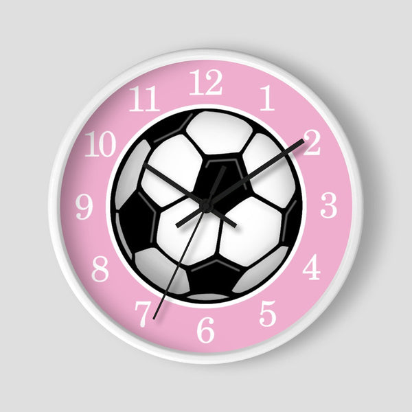 Soccer Ball Pink Wall Clock at Speckle Rock