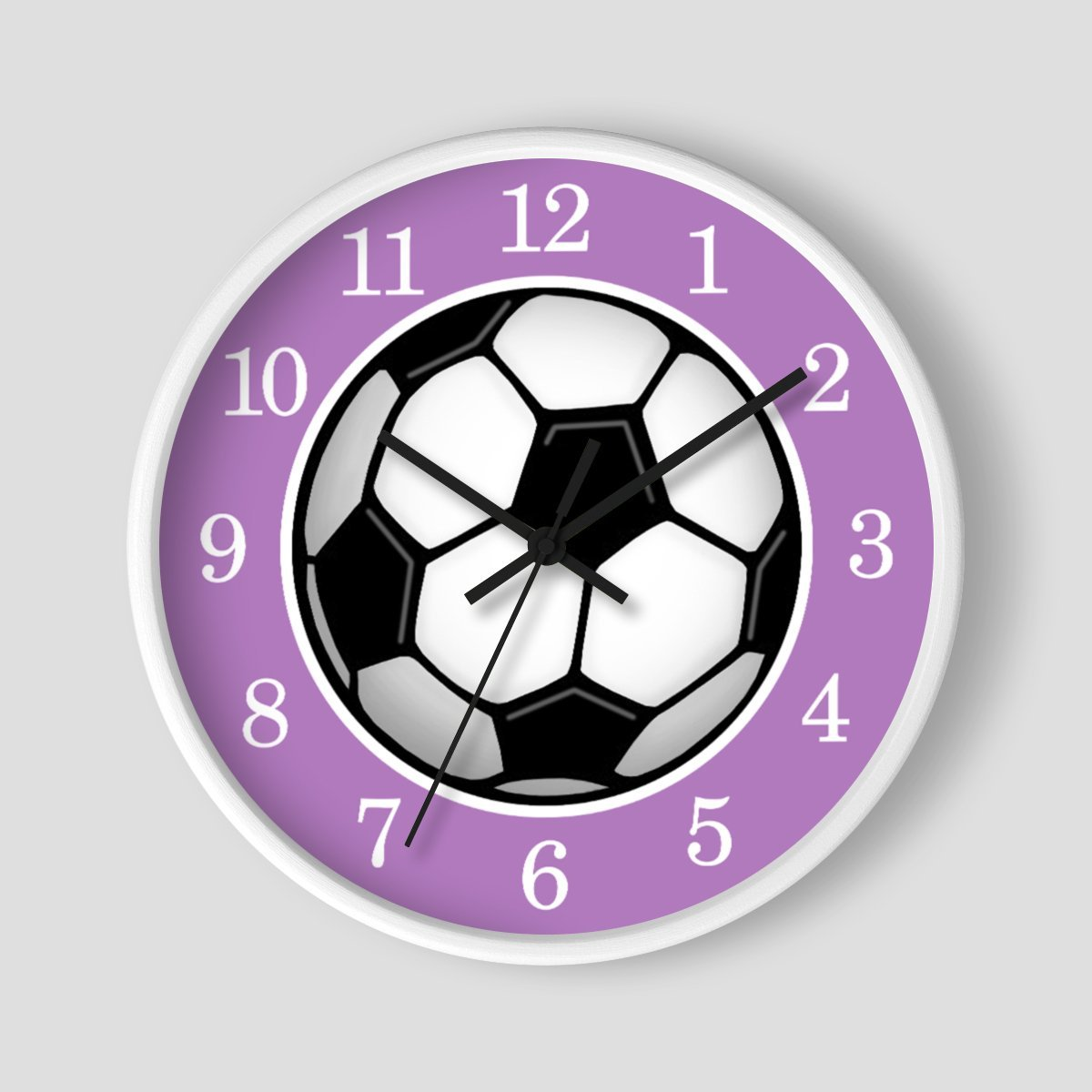 Soccer Ball Purple Wall Clock at Speckle Rock