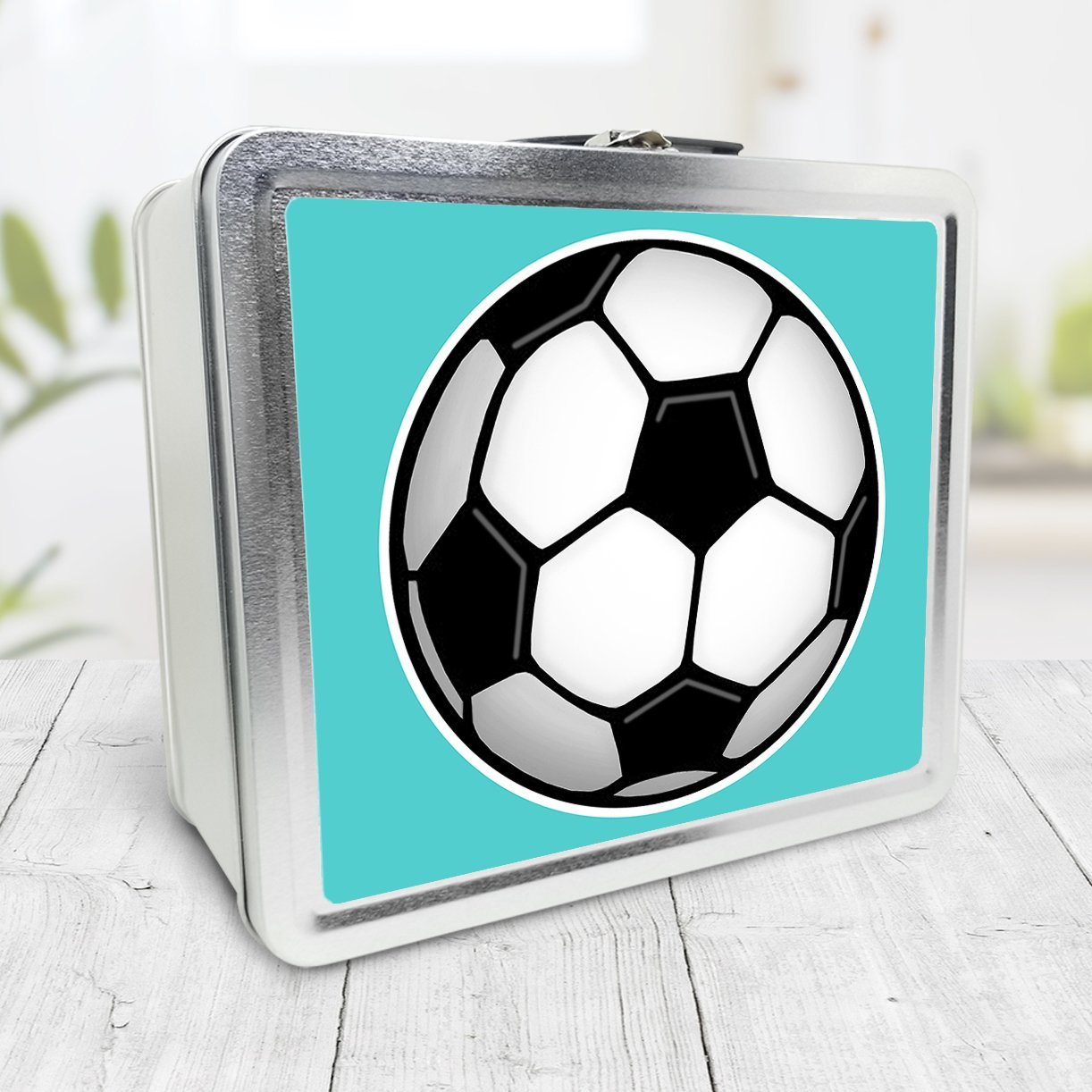 Soccer Ball Teal Lunch Box at Speckle Rock
