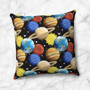 Space Planets Pattern Throw Pillow at Speckle Rock