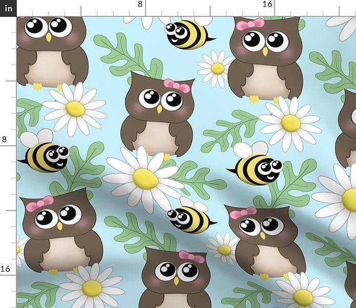 Spring Owl Bee Daisy Pattern - large print Fabric at Speckle Rock
