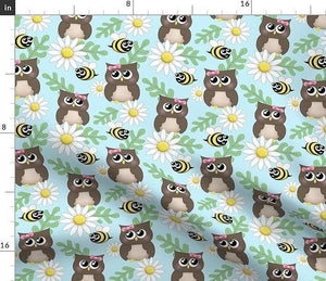 Spring Owl Bee Daisy Pattern - small print Fabric at Speckle Rock