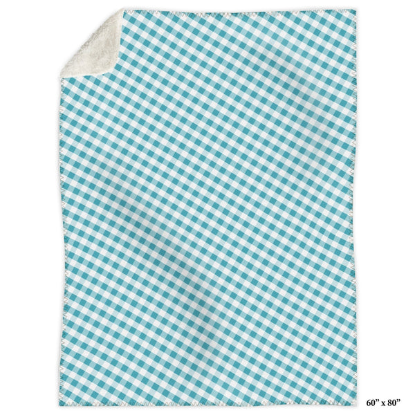 Turquoise Gingham Sherpa Fleece Blanket at Speckle Rock
