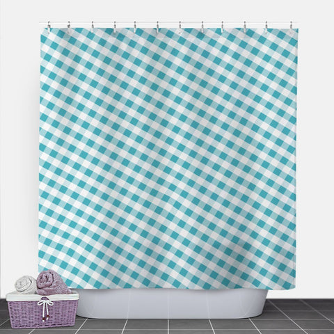 Turquoise Gingham Shower Curtain at Speckle Rock