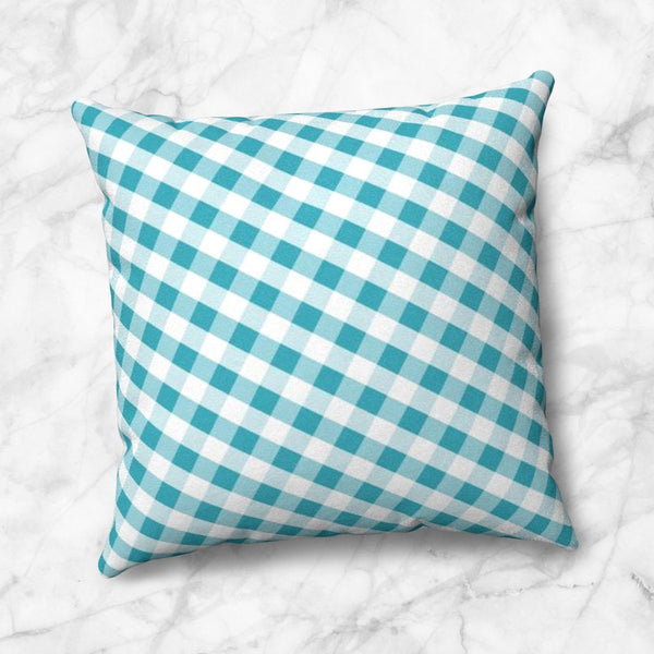 Turquoise Gingham Throw Pillow at Speckle Rock