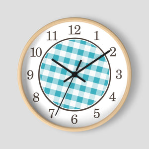 Turquoise Gingham Wall Clock at Speckle Rock