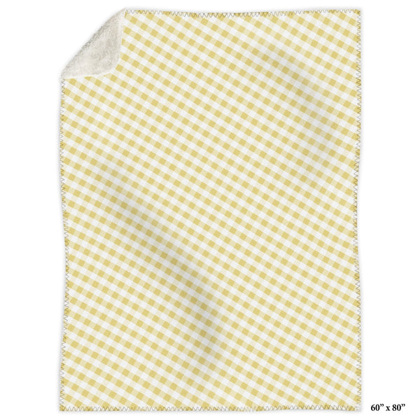 Yellow Gingham Sherpa Fleece Blanket at Speckle Rock
