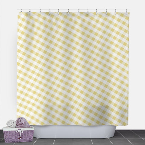 Yellow Gingham Shower Curtain at Speckle Rock