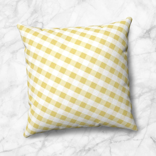 Yellow Gingham Throw Pillow at Speckle Rock