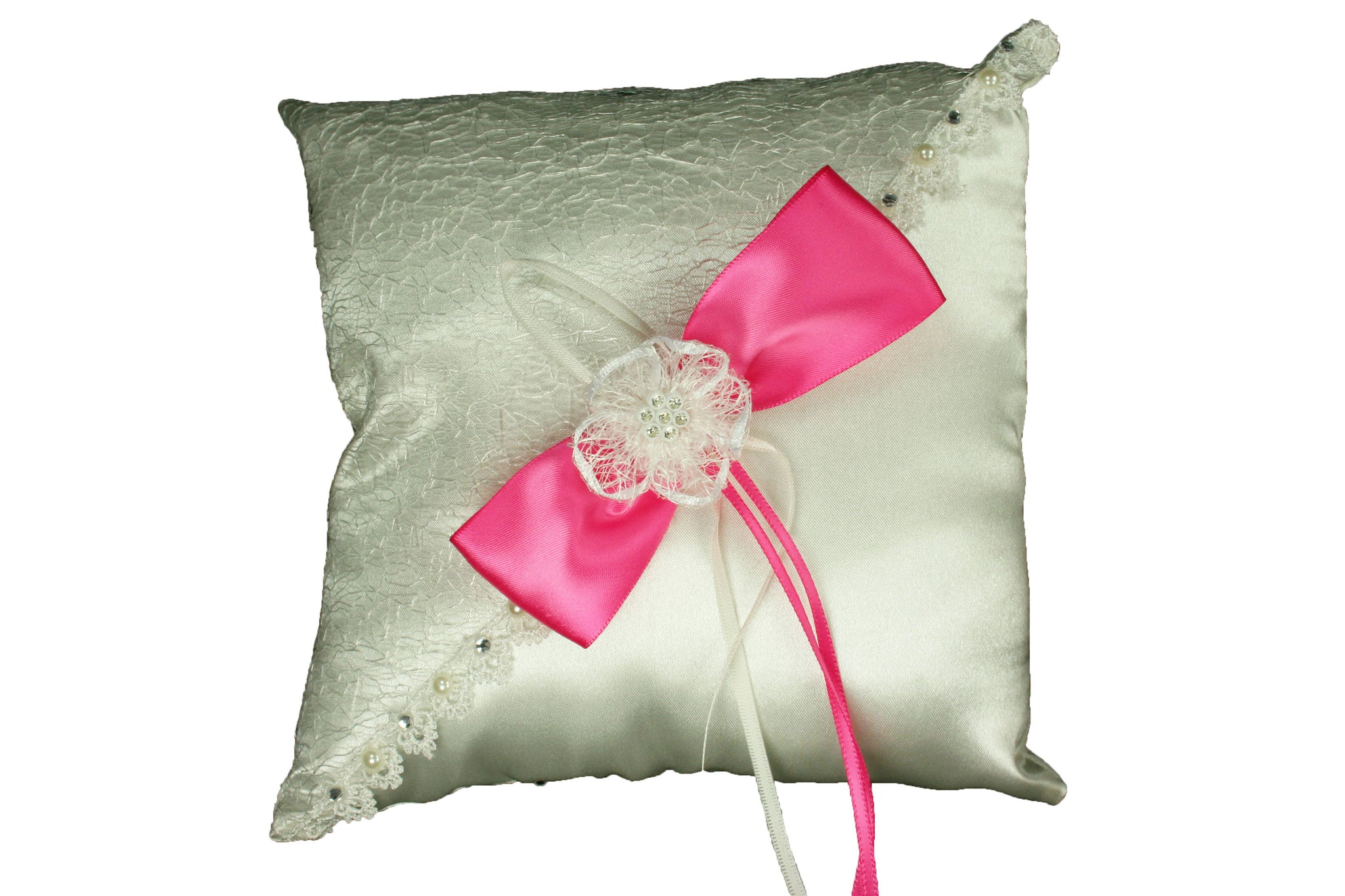 IVORY Wedding Ring Pillow with Sisal Mesh Design Satin Bow and Rhinest