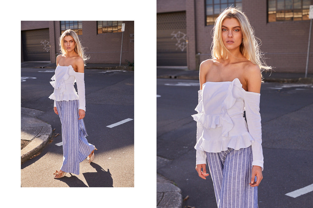Lane Shoulder Top Interlude Pant Stripe