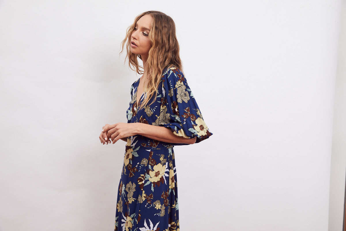 MLM Label Orsay Wrap Midi Dress Aster Floral Dark
