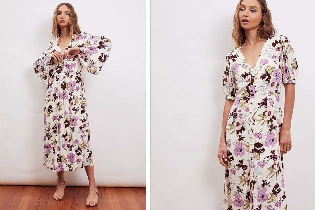 MLM Label Ruby Wrap Midi Nile Maxi Aster Floral Lights