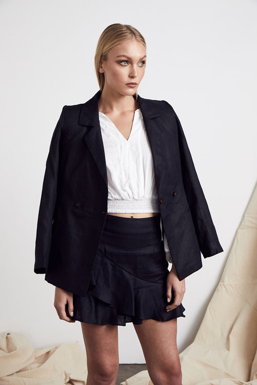 MLM LABEL LINEN WRAP BLAZER BLACK