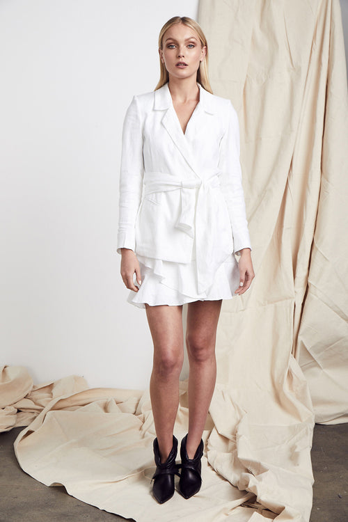 MLM LABEL WHITE LINEN WRAP BLAZER LUCIANO SKIRT