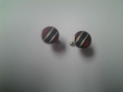 Round Silver Cuff Links with Red and Navy Blue Fabric