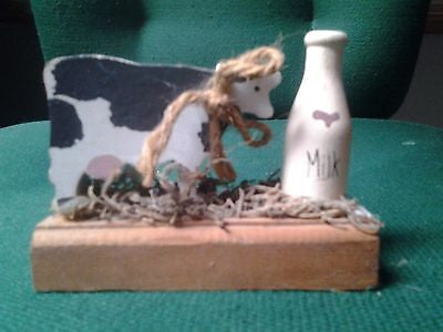 Wooden Cow and Milk Bottle Figurine