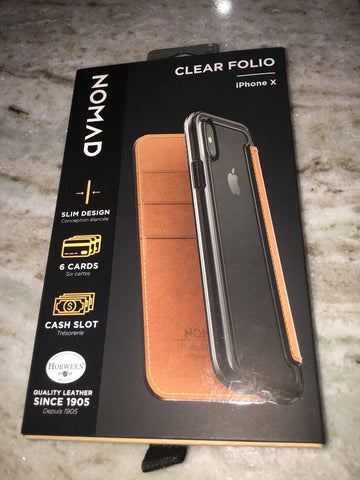 Nomad Leather Wallet Folio Clear iPhone X Brown