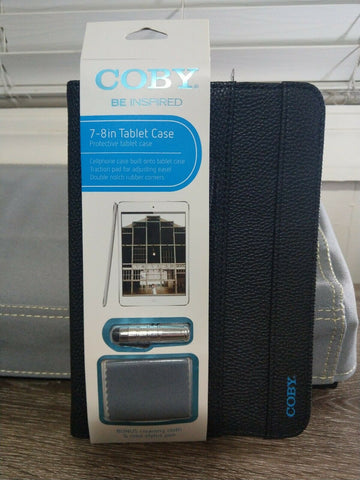 "NEW COBY 7-8"" BLACK FAUX-LEATHER PROTECTIVE TABLET CASE. Includes stylus & cloth"