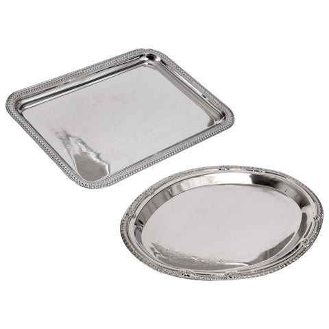 Nickel-Plated Metal Serving Trays(You Will Receive 2 ea Serving Trays)SHIPS N 24 HOURS