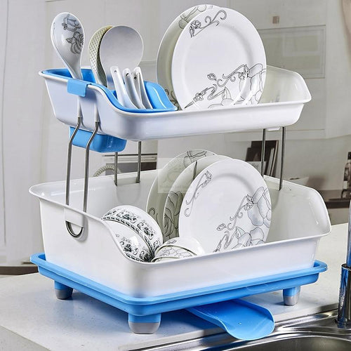 Double Dish Drainer Rack-Kitchen Double Dish Drainer-Heirloom Seed Supply