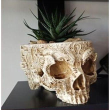 Artisan Crafted Hand Carved Human Skull Planter-Flower Planter-Heirloom Seed Supply