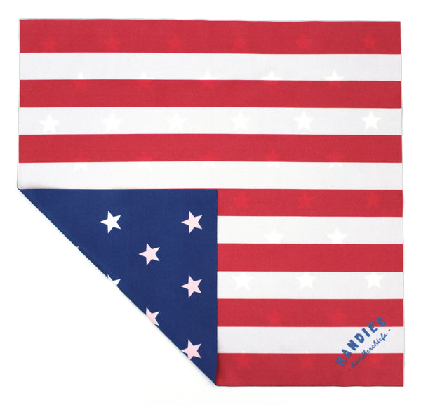Show off your American pride with the Old Faithful handkerchief. With one side as the 13 stripes of our flag, and the back as the stars, this double-sided hanky screams patriot.