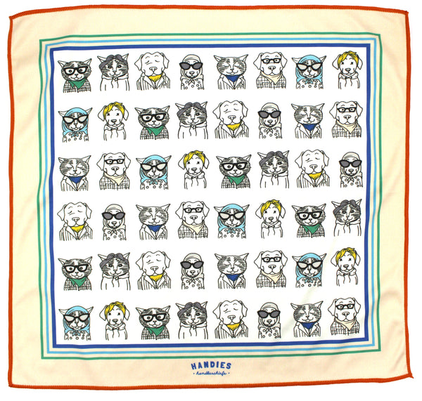 Pets of Our Lives is our hand-drawn handkerchief of our staffs' cats and dogs. Irresistibly cute and classy, use Pets of Our Lives as a handkerchief or pocket square.