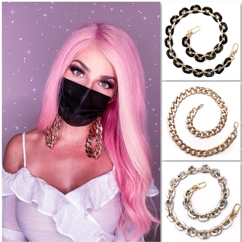 3 PACK Face Mask Chains - Black, Gold, Marble