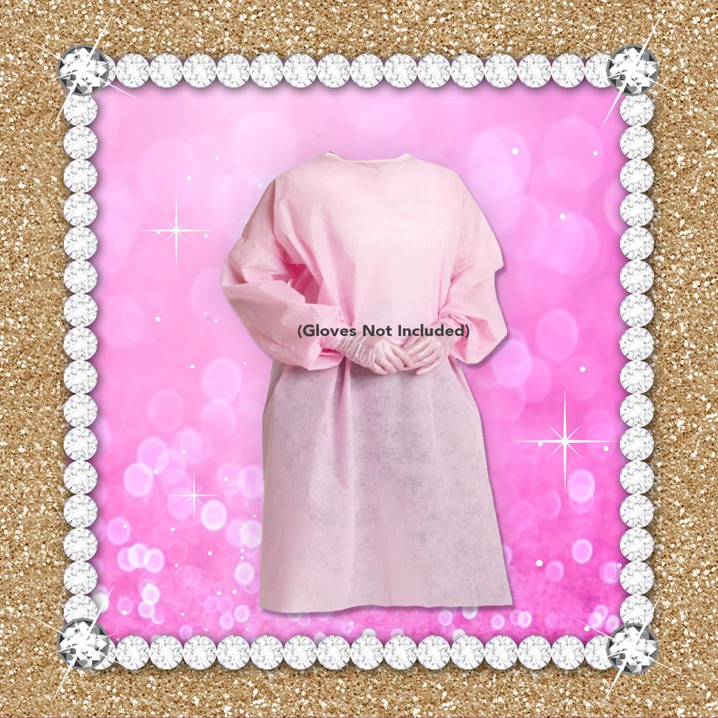 Fluid Resistant Barrier Isolation Gown - PINK – Minx Brows