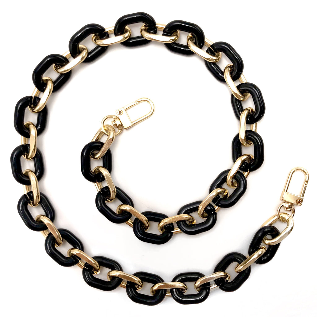 Face Mask Chain - Black & Gold