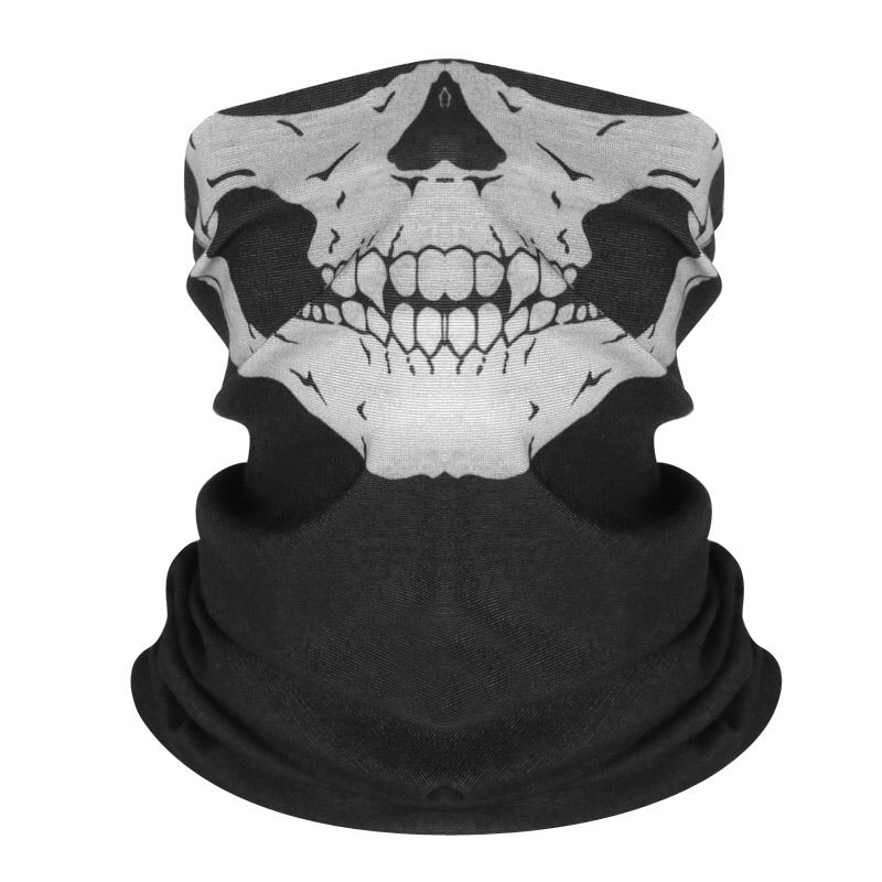 Reusable Fabric Face Cover - White Skull