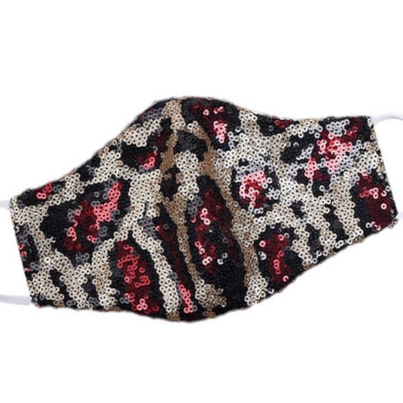 ✨NEW✨ RUBY LEOPARD SEQUIN Face Cover Mask