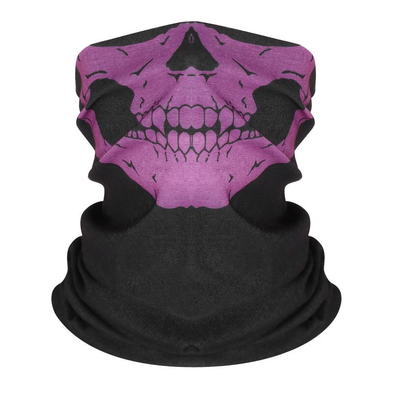Reusable Fabric Face Cover - Purple Skull