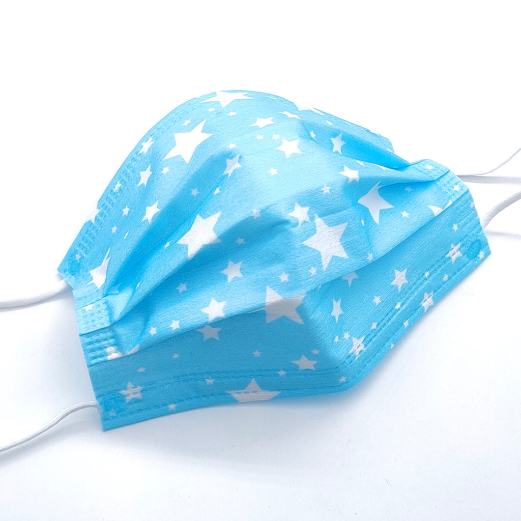 Single Use Blue & White Star Print Face Masks
