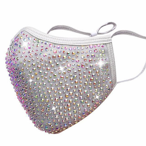 $5 Gray Rainbow Rhinestone Reusable Face Cover Masks