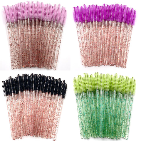 50% OFF! 4 PACK Glitter Spoolie Wands - Pink, Purple, Black, Jade