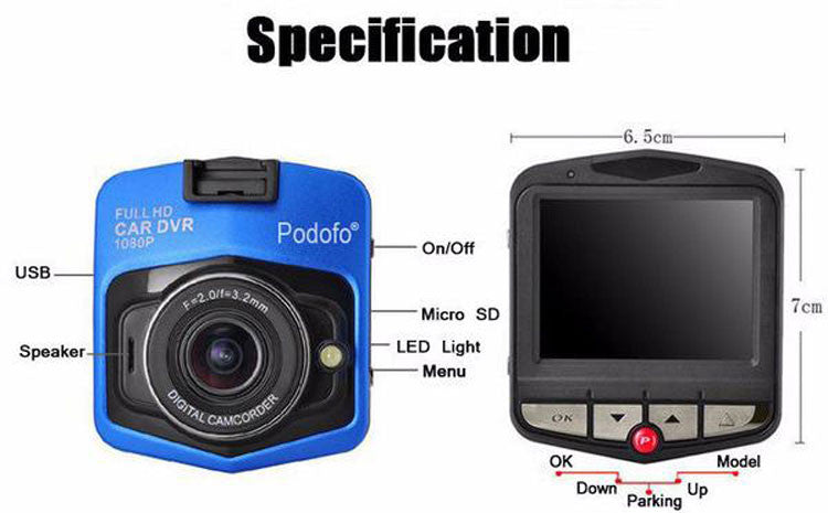 GT300 HD Dash Camera Specifications