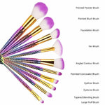 10 Piece Mermaid Makeup Brush Set
