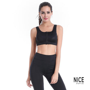 Adjustable Strap & Zipper Sports Bra