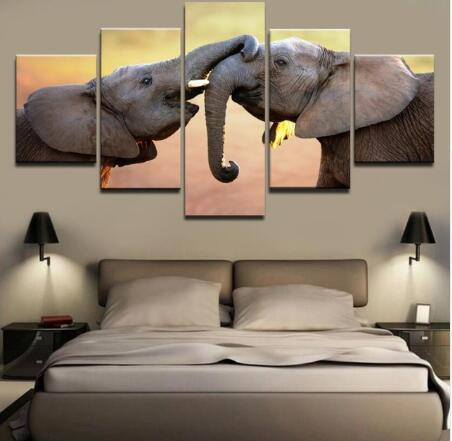 Cuddling Mother and Child Elephant Canvas (5 Piece)