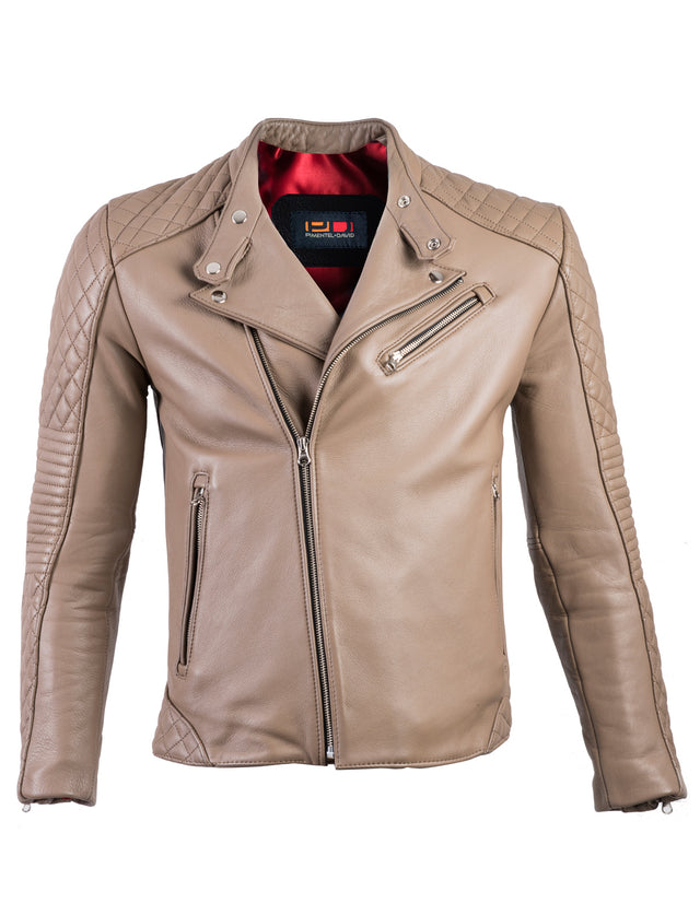 BAHAMA Leather Jacket in Beige Leather  - Cafe Racer Quilted