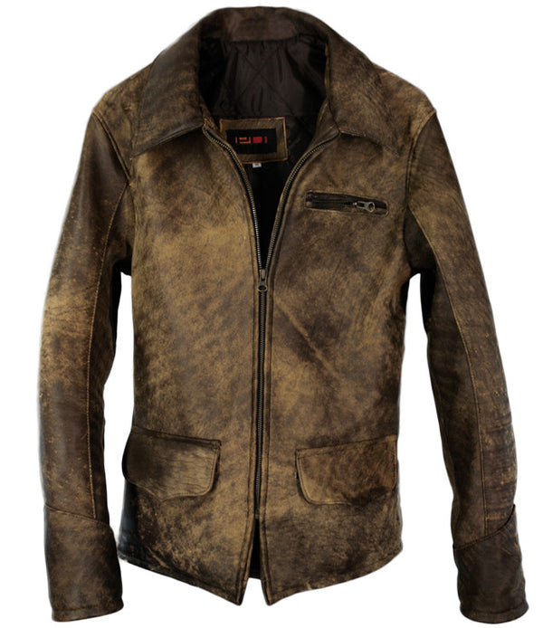 1942 Leather Jacket Full Distressed Brown - Low Hip