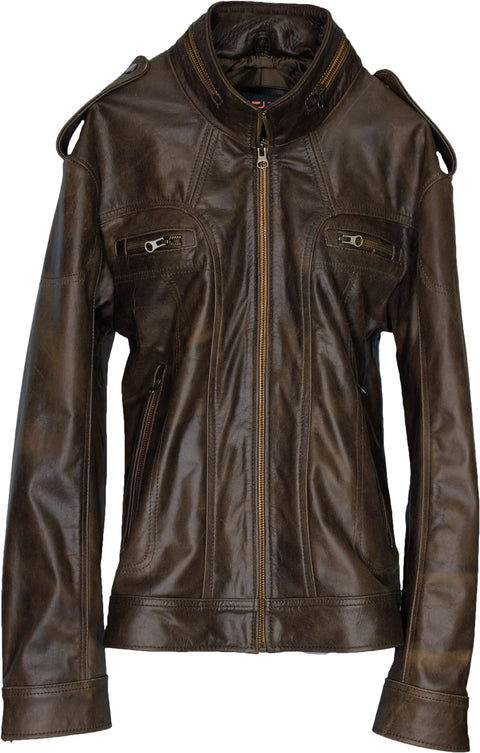 2018 Leather Jacket Distressed Brown