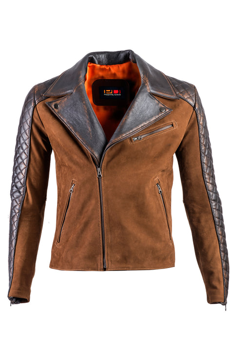 REBEL CR Leather Jacket Cafe Nubuck Brown quilted