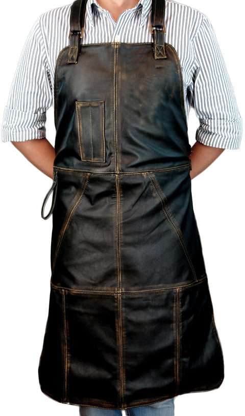 Premium BBQ Leather Apron Grilling Distressed Black - Personalized Embroidery - Custom-Made