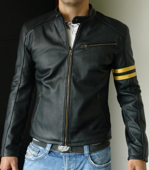 GOLD Leather Jacket in black Napa & gold stripes