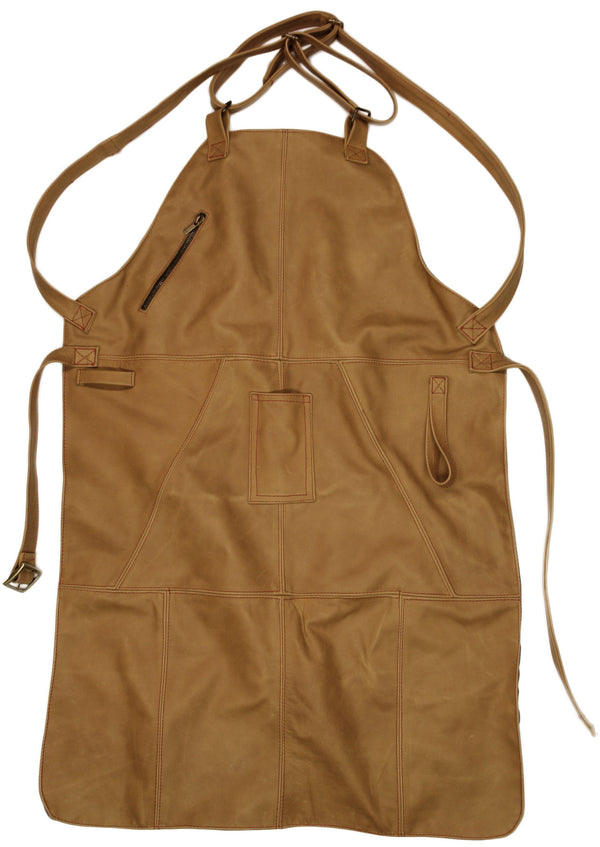 Zip Pocket Premium Leather Grilling Apron BBQ