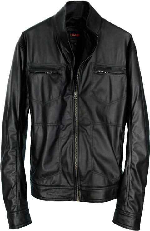 DURSS Leather Jacket in Black - Lightweight Calfskin