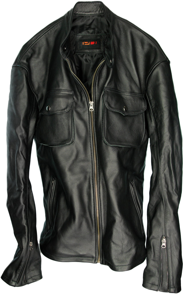 SAFARI Leather Jacket Black  - Solid Black Cafe Racer Jacket
